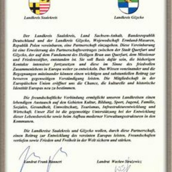 Partnerschaftsurkunde Gizycko und Saalekreis